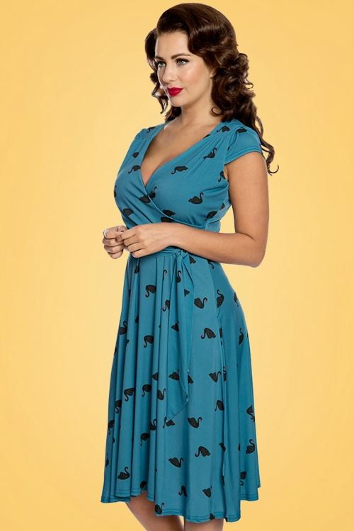 Lindy Bop Dawn Blue Swans Swing Dress 24565 20171222 01W