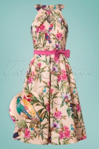50s Cherel Tropical Birds Swing Dress in Pink