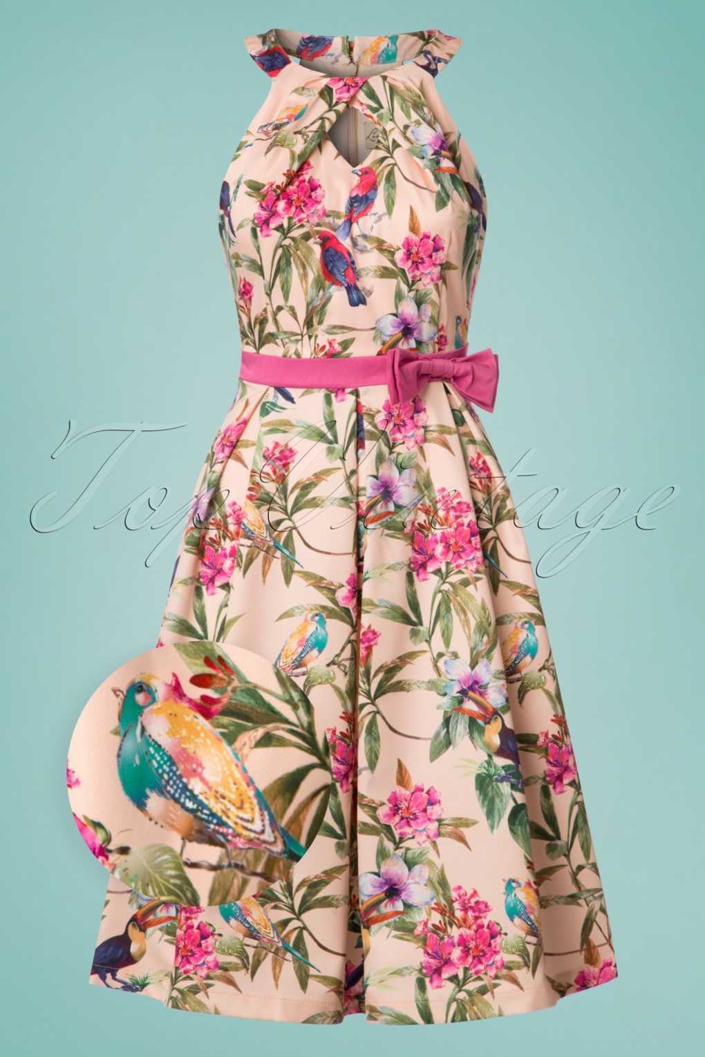 1950s Fashion Dresses:  Floral, Tropical, Tiki, Hawaiian 50s Cherel Tropical Birds Swing Dress in Pink £44.45 AT vintagedancer.com