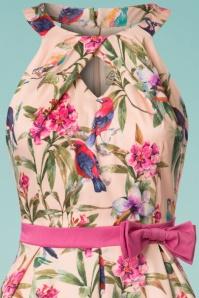 Lindy Bop Cherel Pink Tropical Birds Swing Dress 21231 20180102 0002c