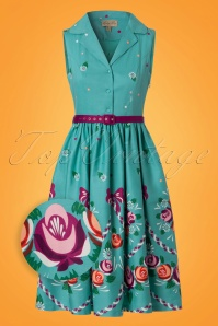 50s Matilda Folk Floral Swing Dress in Teal
