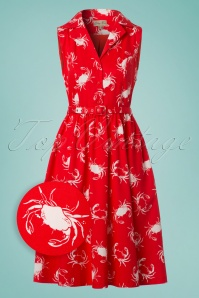 50s Matilda Shellfish Swing Dress in Red