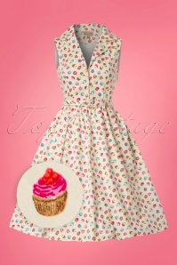 Lindy Bop Matilda Cream Cupcakes Swing Dress 21232 20180103 0015wv