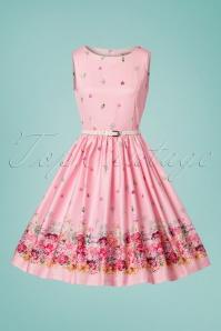 Lindy Bop Audrey Pink Floral Border Swing Dress 24575 20180102 0013w