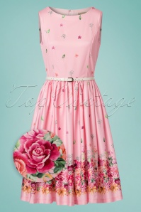 Lindy Bop Audrey Pink Floral Border Swing Dress 24575 20180102 0012wv