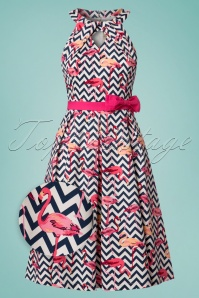 50s Cherel Zigzag Flamingo Swing Dress in Pink and Navy