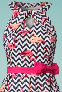 Lindy Bop Cherel ZigZag Flamingo Swing Dress 24562 20180102 0002c