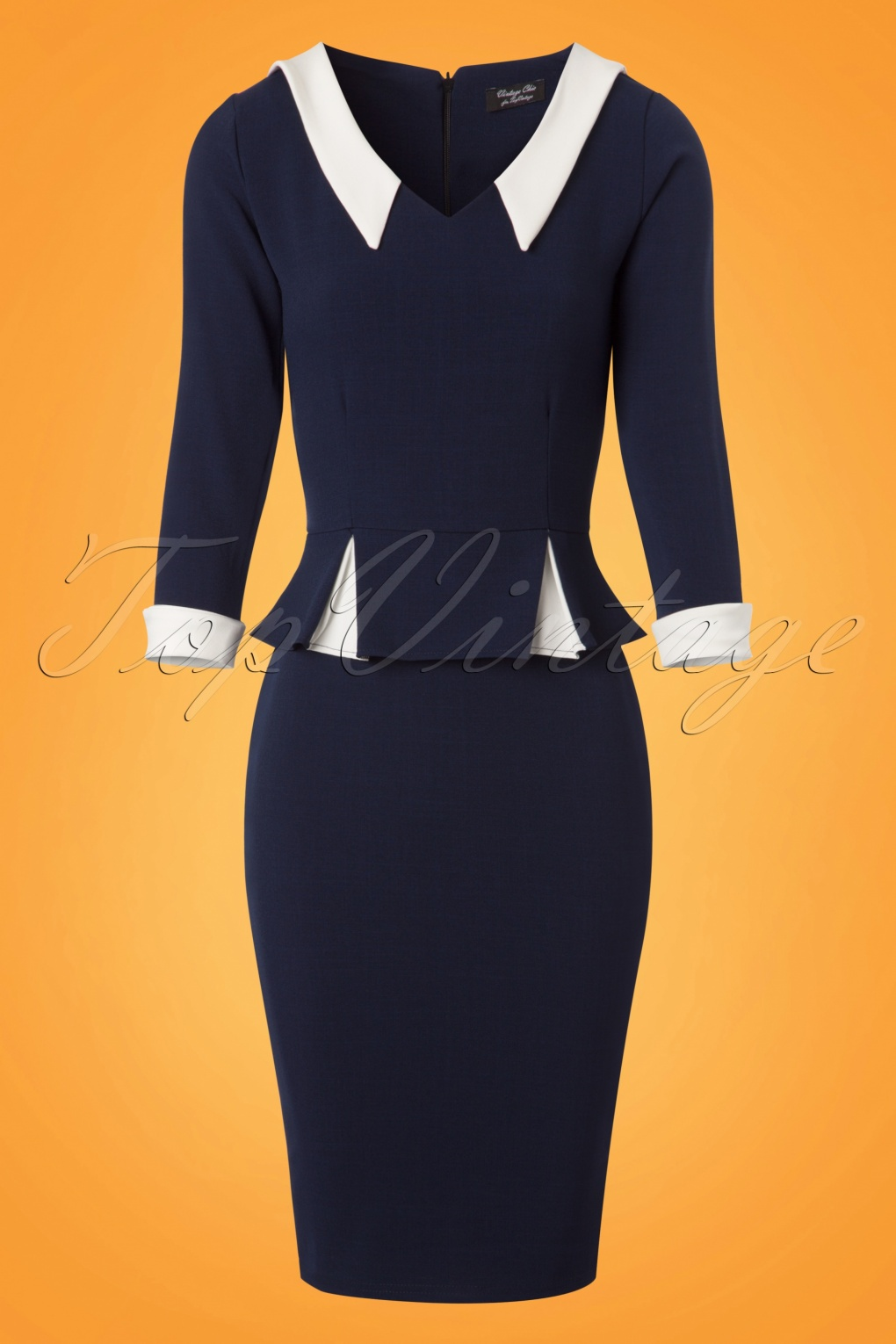 60s Plus Size Retro Dresses, Clothing, Costumes | 70s Dresses 50s Gladys Peplum Pencil Dress in Navy and Ivory £61.73 AT vintagedancer.com