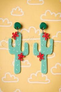 Prickly Pair Earrings Années 50 en Vert