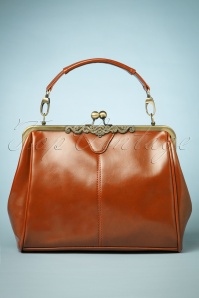 20s Vintage Frame Kisslock Clasp Bag in Cognac