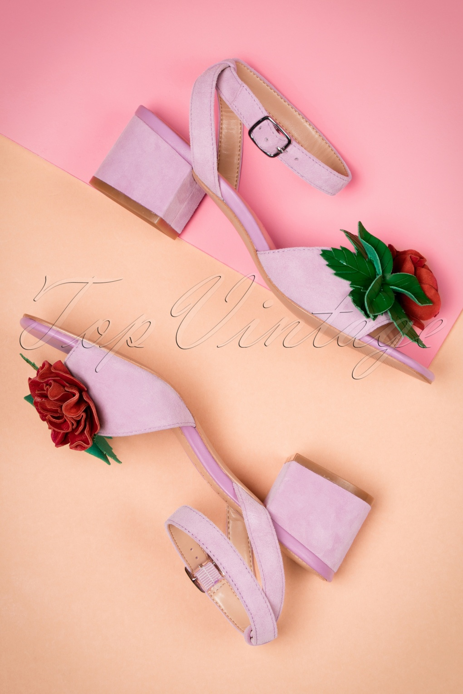 60s Shoes, Boots | 70s Shoes, Platforms, Boots 60s Elanor Suede Sandals in Violet £114.68 AT vintagedancer.com