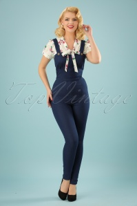 Collectif Clothing Debra Denim Dungarees in Navy 22531 20171121 0016W