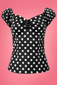 Dolores top Polka Black White