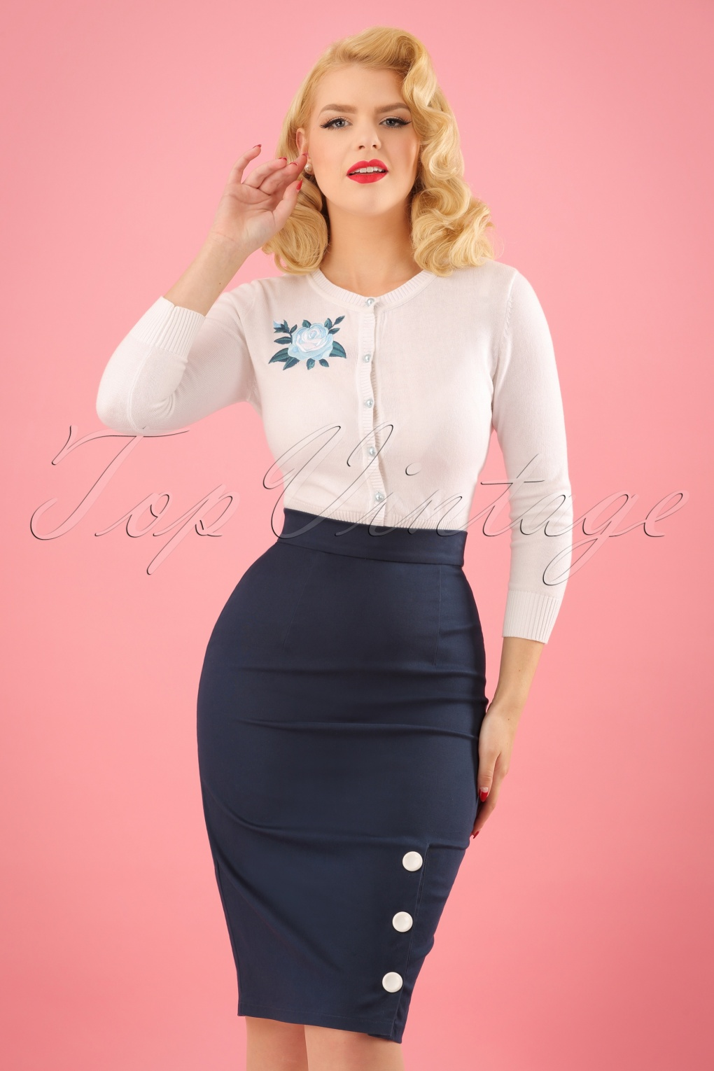 50s Skirt Styles | Poodle Skirts, Circle Skirts, Pencil Skirts 50s Charlotte Pencil Skirt in Navy £39.51 AT vintagedancer.com