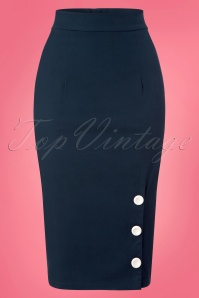 Collectif Clothing Charlotte Pencil Skirt in Navy 22809 20171120 0002w