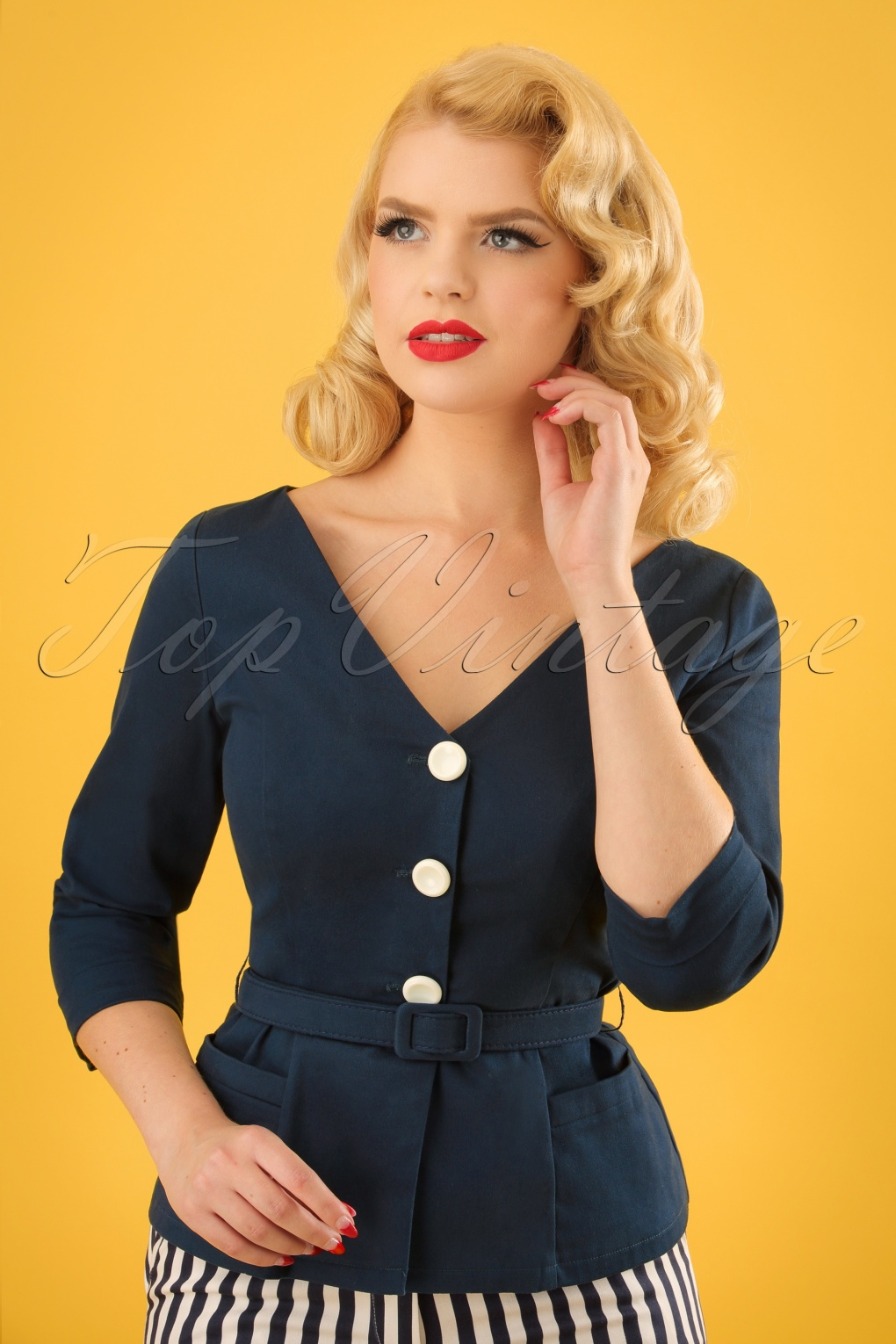 1950s Jackets, Coats, Bolero | Swing, Pin Up, Rockabilly 50s Charlotte Suit Jacket in Navy £52.31 AT vintagedancer.com
