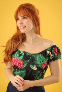 50s Lorena Tropical Paradise Top in Black
