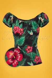 Collectif Clothing Lorena Tropical Paradise Top in Black 22822 20171122 0001wv