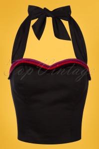 50s Sadie Halter Crop Top in Black