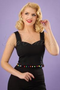 Collectif Clothing Lianna Pom Pom Crop Top in Black 22816 20171122 0009w
