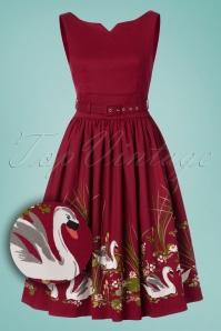 Lindy Bop Delta Swan Swing Dress in Red 102 27 24667 20180116 0009W1
