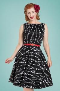 50s Mariam Floral Swing Dress in Black