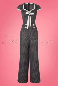 40s Leanne Pin Stripe Jumpsuit in Grey
