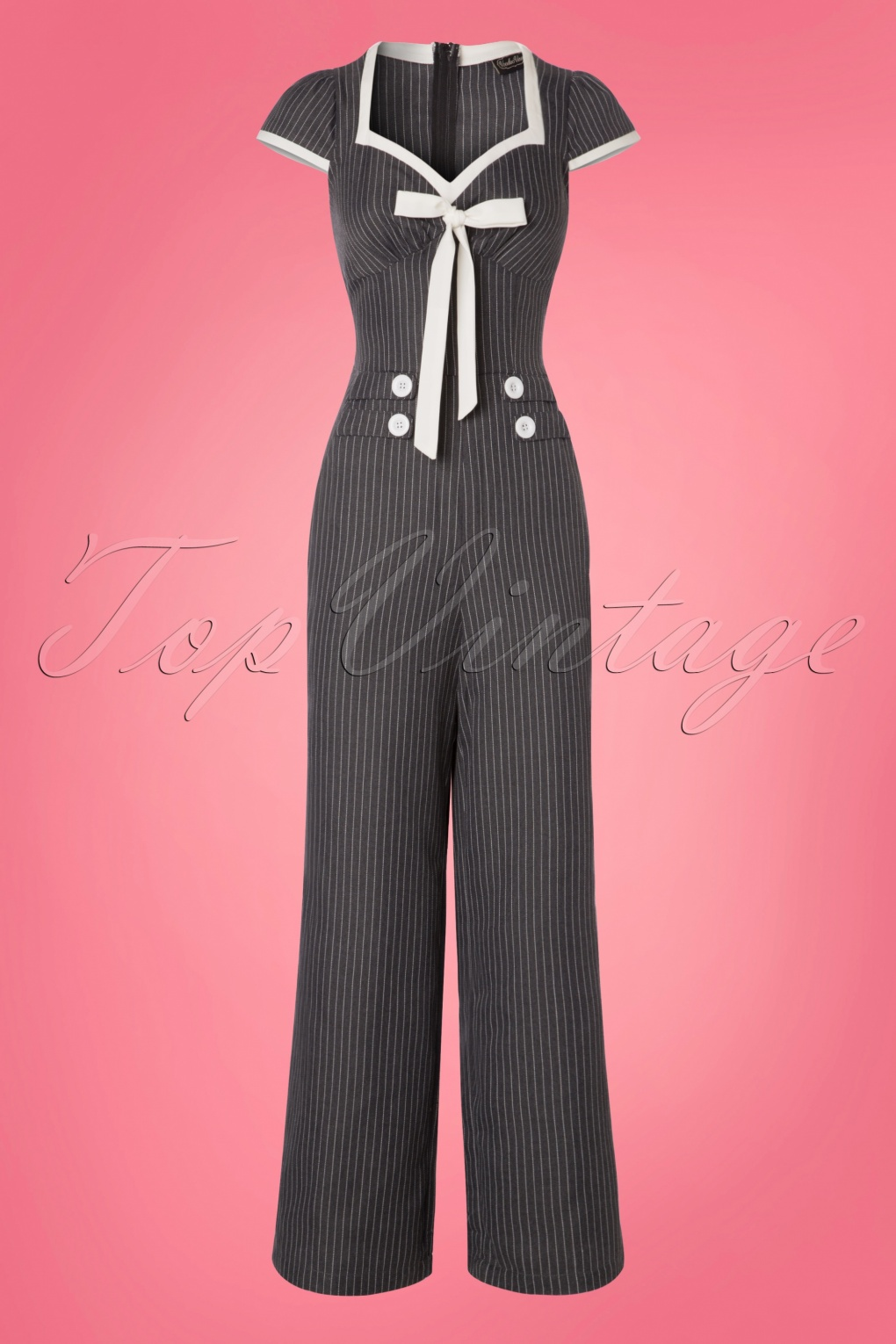 Vintage High Waisted Trousers, Sailor Pants, Jeans 40s Leanne Pin Stripe Jumpsuit in Grey £59.58 AT vintagedancer.com