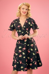 Lena Flamingo Swing Dress Années 50 en Noir