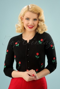 50s Rose Applique Cardigan in Black