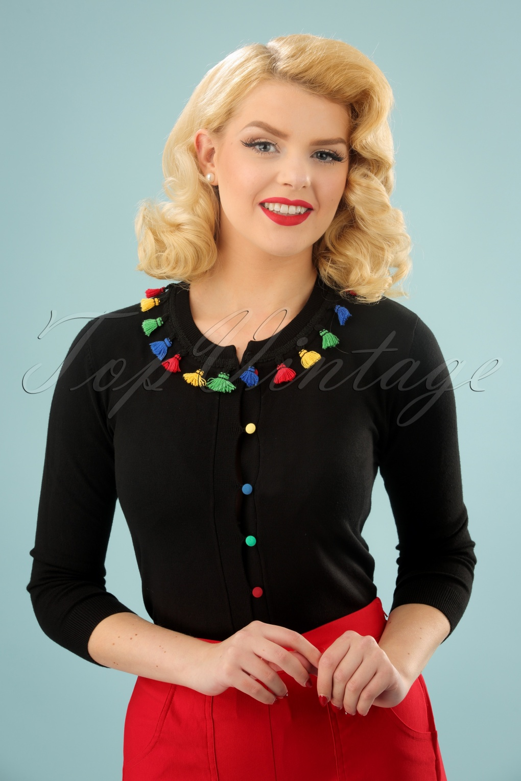Vintage Sweaters: Cable Knit, Fair Isle Cardigans & Sweaters 50s Maria Tassle Cardigan in Black £35.48 AT vintagedancer.com