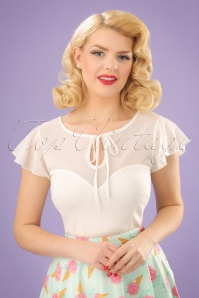 50s Pam Mesh Top in White