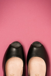 Tamaris Black Leather Peeptoe Pumps 403 10 23435 18012018 015