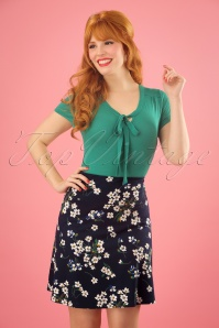 60s Littlebell Borderskirt in Blue