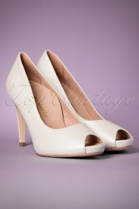 50s Leather Peeptoe Pumps in Pearl White