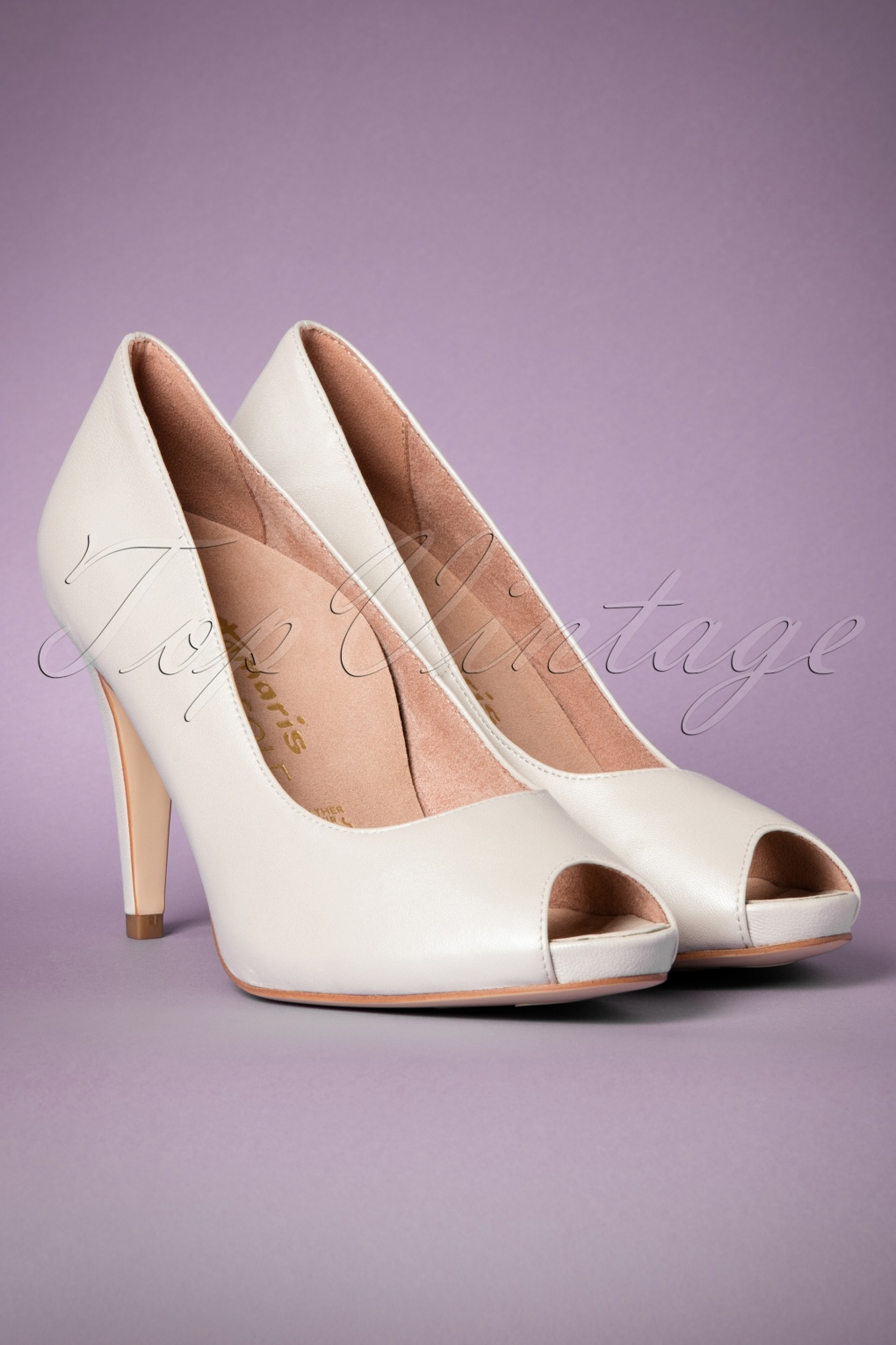 1950s Style Shoes 50s Leather Peeptoe Pumps in Pearl White £79.69 AT vintagedancer.com