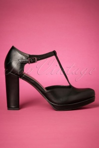 60s Phoebe T-Strap Pumps in Black