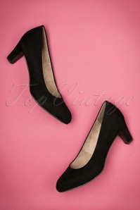 40s Sally Suedine Pumps in Black