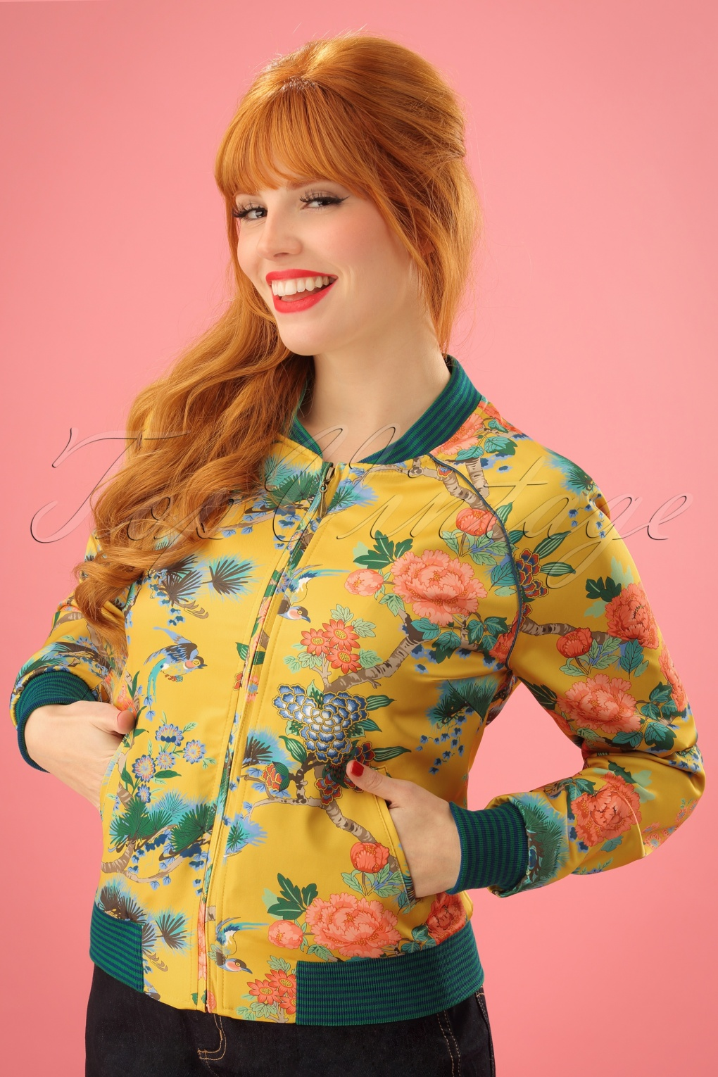 Vintage Style Coats, Jackets, Faux Fur, Tweed 50s Birds Baseball Jacket in Honey Yellow £115.40 AT vintagedancer.com