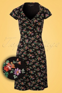 King Louie Gina Floral Dress in Black 100 14 23084 20180116 0002W1