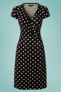 60s Party Polka Cross Dress in Black