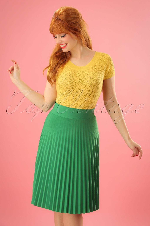 Retro Skirts: Vintage, Pencil, Circle, & Plus Sizes 60s Soleil Plisse Border Skirt in Peapod Green £66.15 AT vintagedancer.com