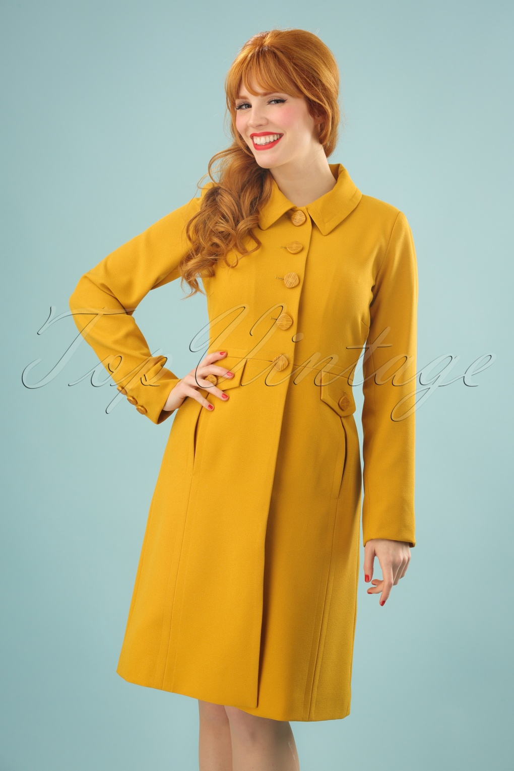 Vintage Style Coats, Jackets, Faux Fur, Tweed 60s Luisa Coat in Honey Yellow £142.04 AT vintagedancer.com