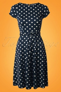 60s Betty Party Polka Dress in Ink Blue