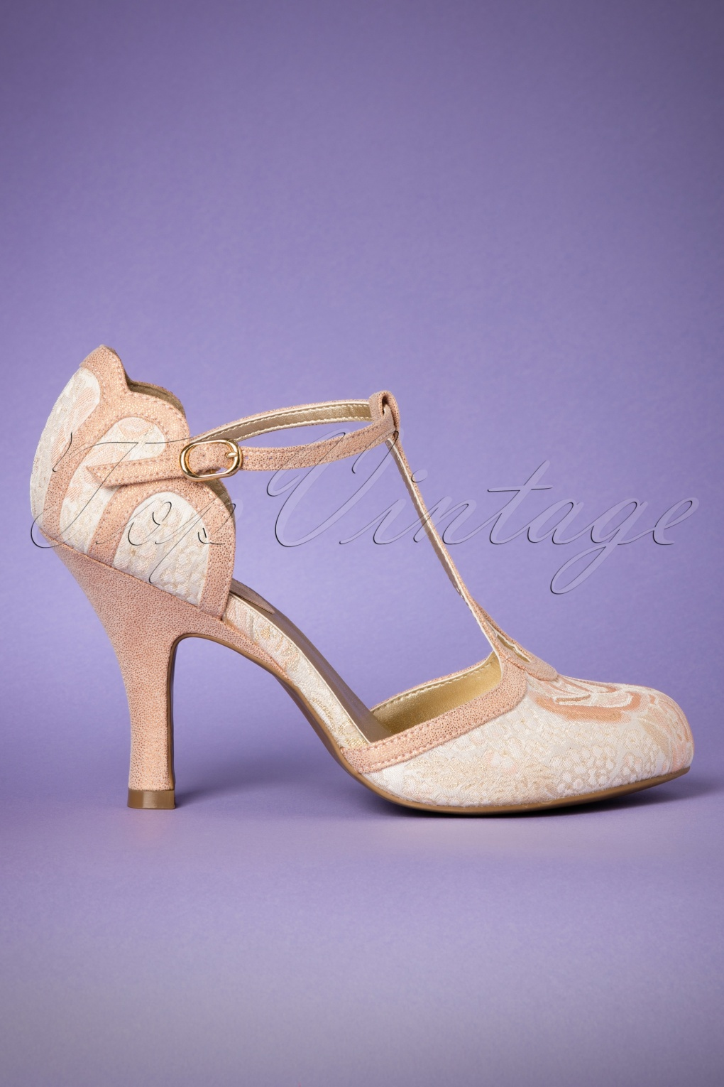 Vintage Style Shoes, Vintage Inspired Shoes 50s Polly T-Strap Pumps in Peach £70.63 AT vintagedancer.com