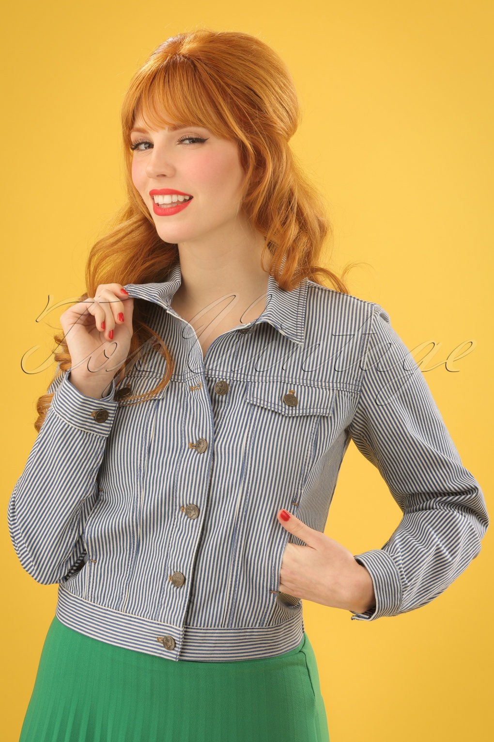 Vintage Style Coats, Jackets, Faux Fur, Tweed 60s Janey Americana Striped Jacket in Palace Blue £88.76 AT vintagedancer.com