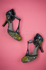 50s Polly T-Strap Jungle Pumps in Navy