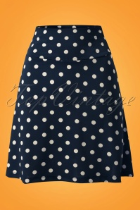 60s Party Polka Borderskirt in Ink Blue