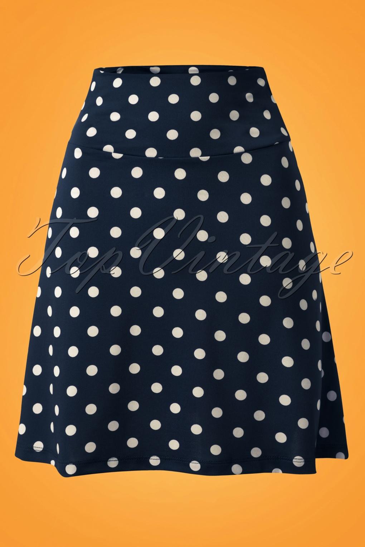 Retro Skirts: Vintage, Pencil, Circle, & Plus Sizes 60s Party Polka Borderskirt in Ink Blue £52.57 AT vintagedancer.com