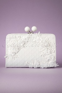50s Riga Flowers and Pearls Clutch in Ivory